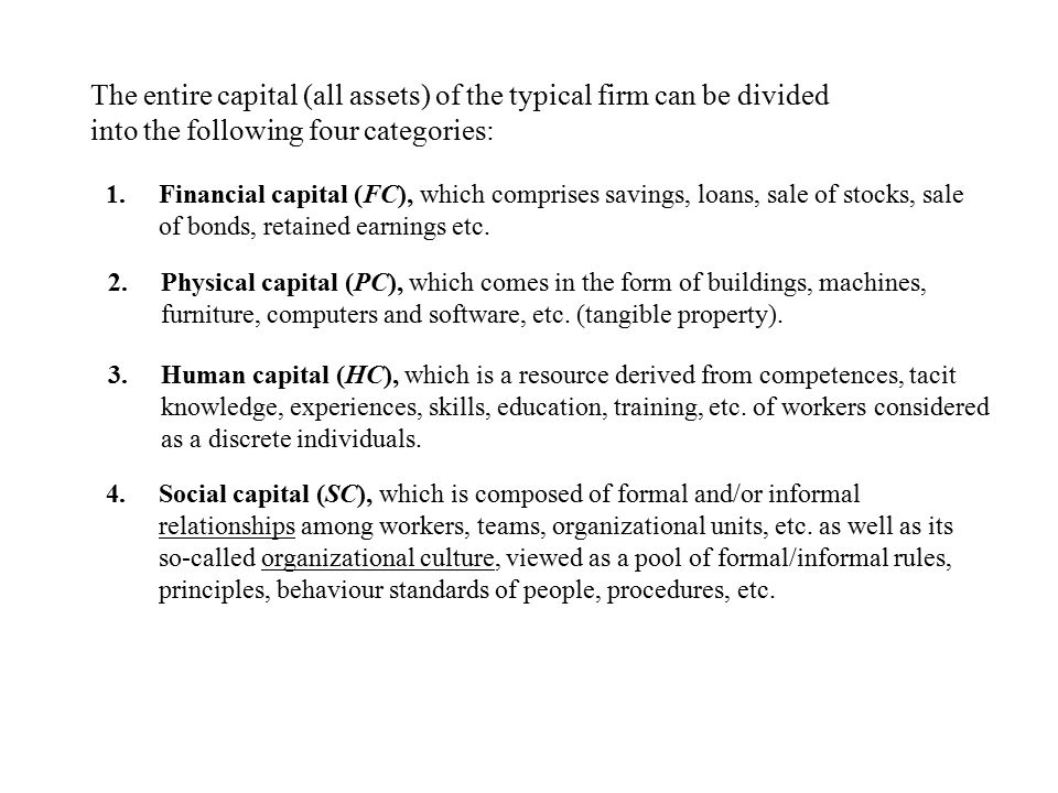 The entire capital (all assets) of the typical firm can be divided into the following four categories: 1.Financial capital (FC), which comprises savings, loans, sale of stocks, sale of bonds, retained earnings etc.