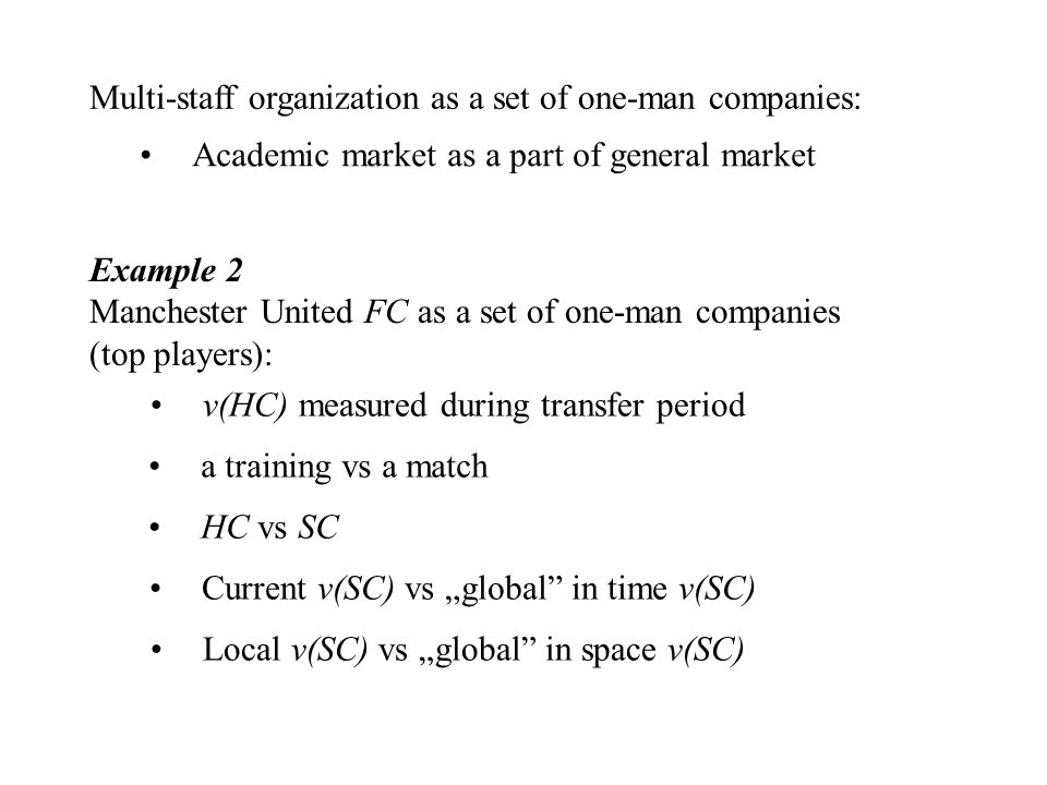 "Multi-staff organization as a set of one-man companies: Academic market as a part of general market Example 2 Manchester United FC as a set of one-man companies (top players): a training vs a match HC vs SC Current v(SC) vs ""global in time v(SC) Local v(SC) vs ""global in space v(SC) v(HC) measured during transfer period"