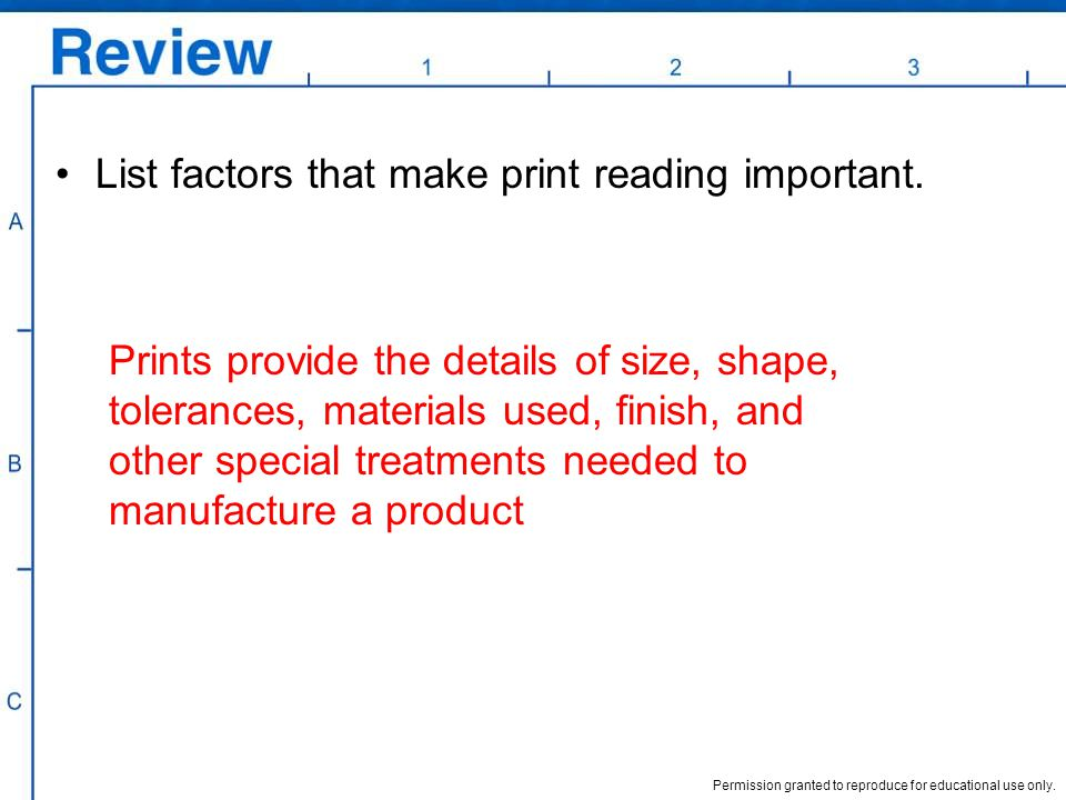 Permission granted to reproduce for educational use only. List factors that make print reading important. Prints provide the details of size, shape, t