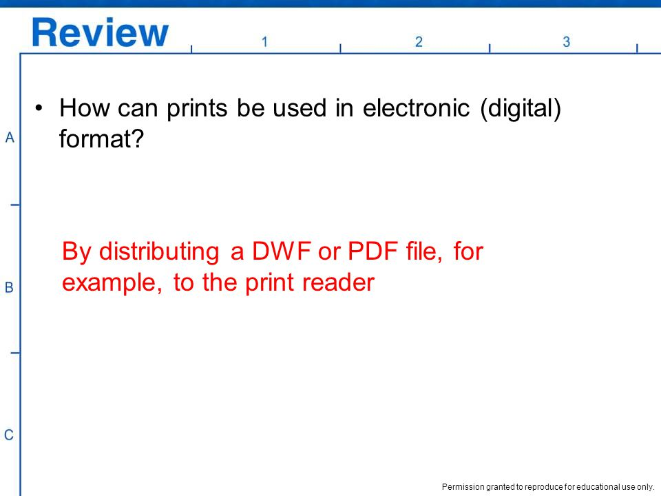 Permission granted to reproduce for educational use only. How can prints be used in electronic (digital) format? By distributing a DWF or PDF file, fo