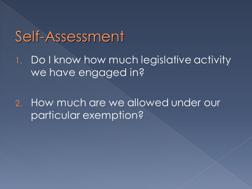 Self-Assessment 1. Do I know how much legislative activity we have engaged in.