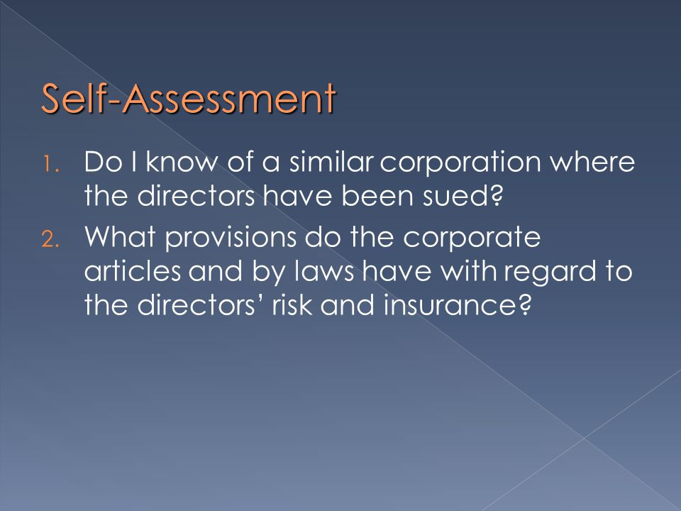 Self-Assessment 1. Do I know of a similar corporation where the directors have been sued.