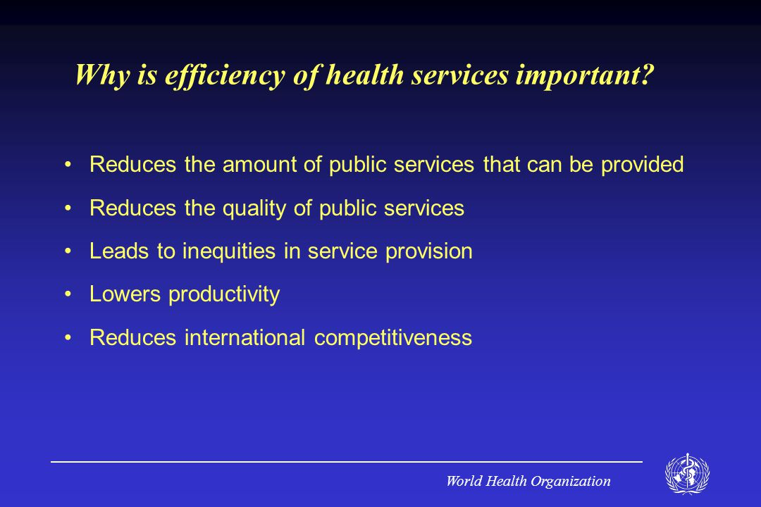World Health Organization Why is efficiency of health services important.