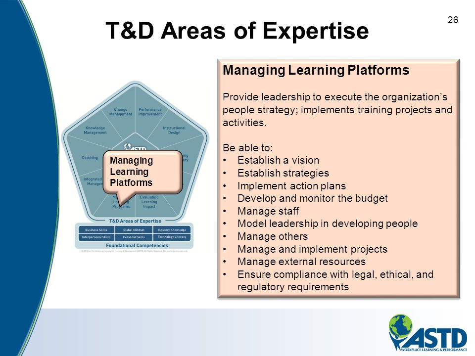 T&D Areas of Expertise 26 Managing Learning Platforms Provide leadership to execute the organization's people strategy; implements training projects a