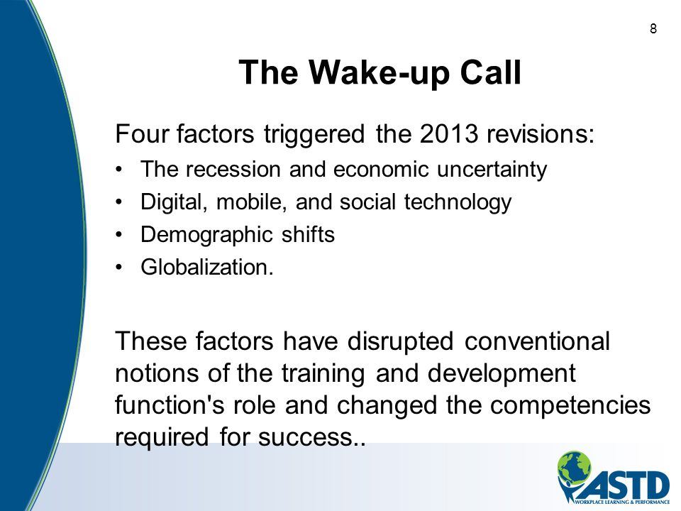 The Wake-up Call Four factors triggered the 2013 revisions: The recession and economic uncertainty Digital, mobile, and social technology Demographic