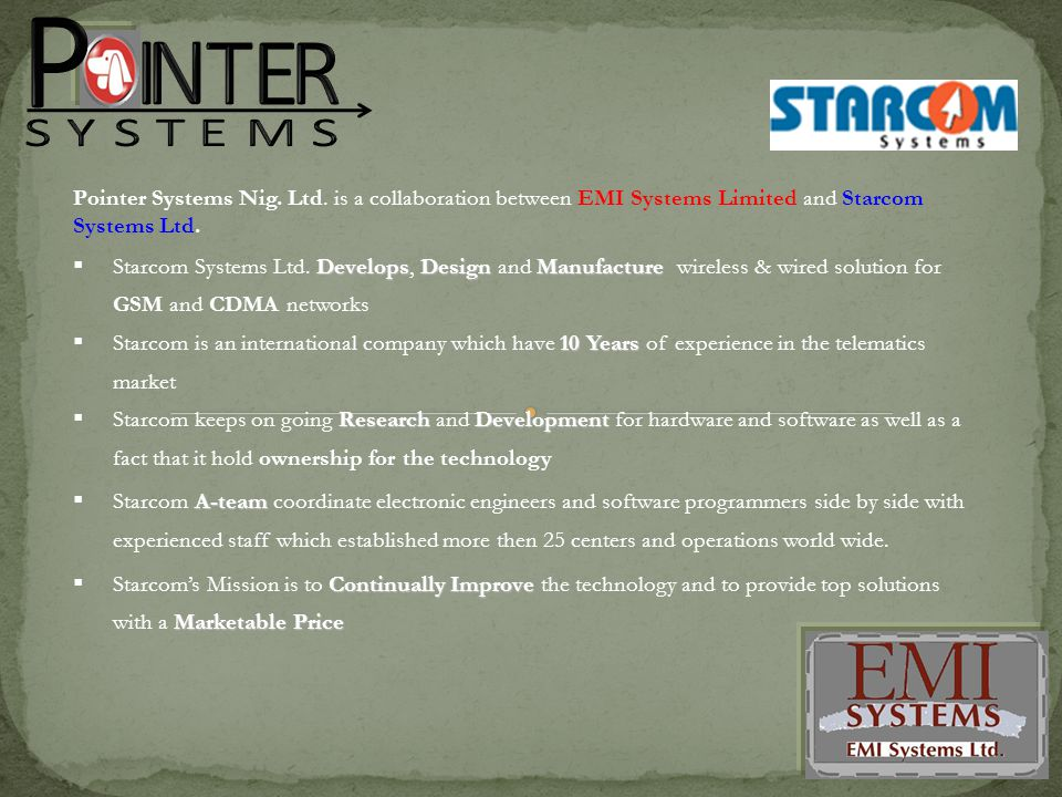DevelopsDesignManufacture  Starcom Systems Ltd.