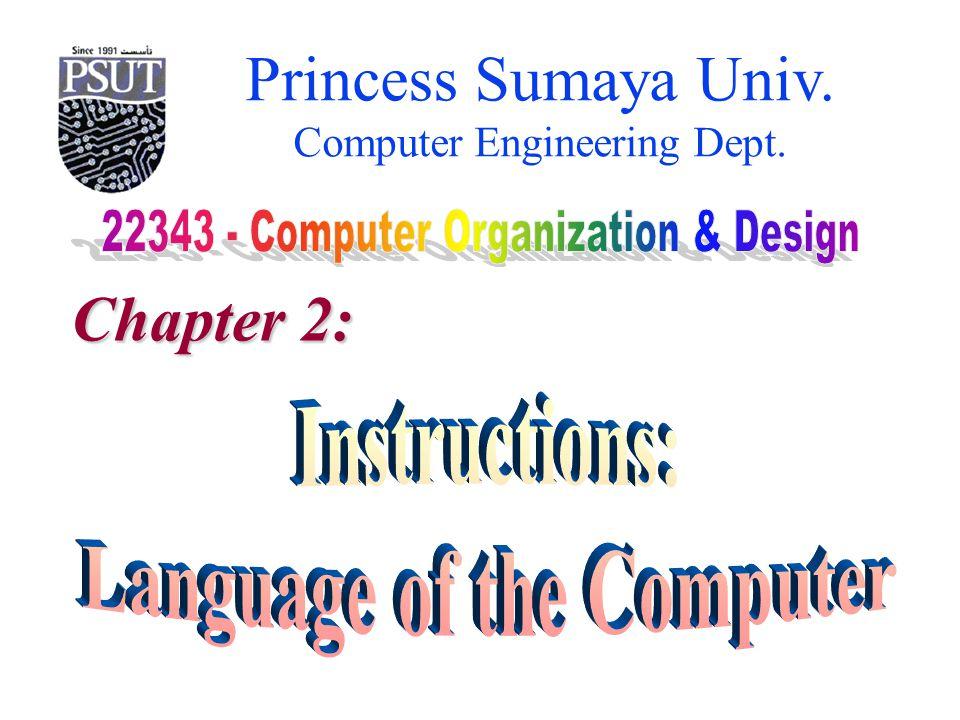 Princess Sumaya University 22343 – Computer Organization & Design Computer Engineering Dept.