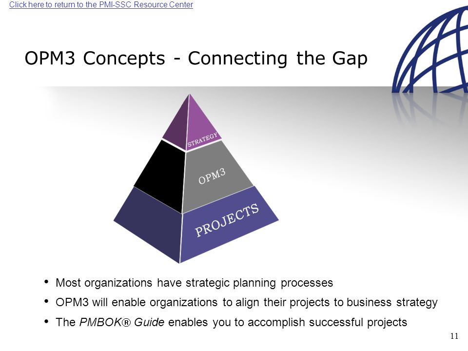 Click here to return to the PMI-SSC Resource Center 11 OPM3 will enable organizations to align their projects to business strategy OPM3 Concepts - Connecting the Gap Most organizations have strategic planning processes The PMBOK  Guide enables you to accomplish successful projects