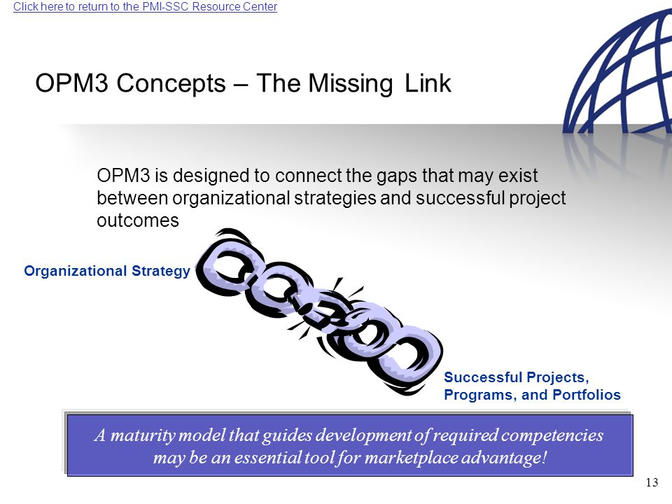 Click here to return to the PMI-SSC Resource Center 13 OPM3 Concepts – The Missing Link OPM3 is designed to connect the gaps that may exist between organizational strategies and successful project outcomes Organizational Strategy Successful Projects, Programs, and Portfolios A maturity model that guides development of required competencies may be an essential tool for marketplace advantage!