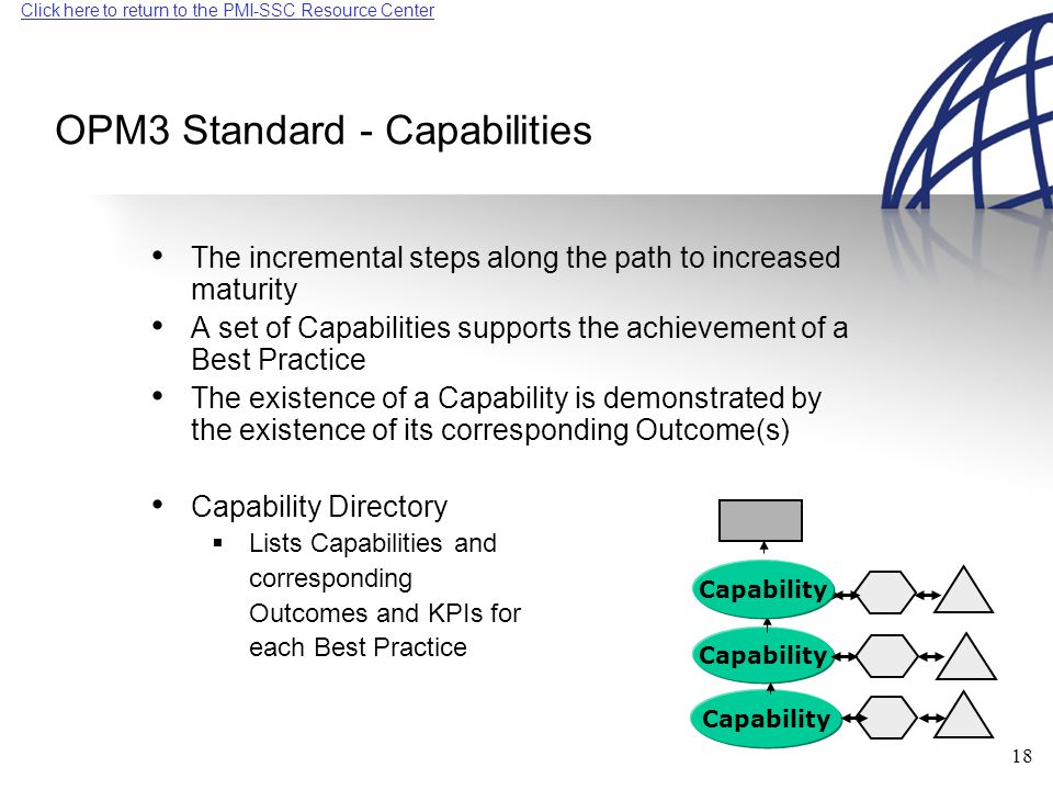 Click here to return to the PMI-SSC Resource Center 18 OPM3 Standard - Capabilities The incremental steps along the path to increased maturity A set of Capabilities supports the achievement of a Best Practice The existence of a Capability is demonstrated by the existence of its corresponding Outcome(s) Capability Directory  Lists Capabilities and corresponding Outcomes and KPIs for each Best Practice Capability
