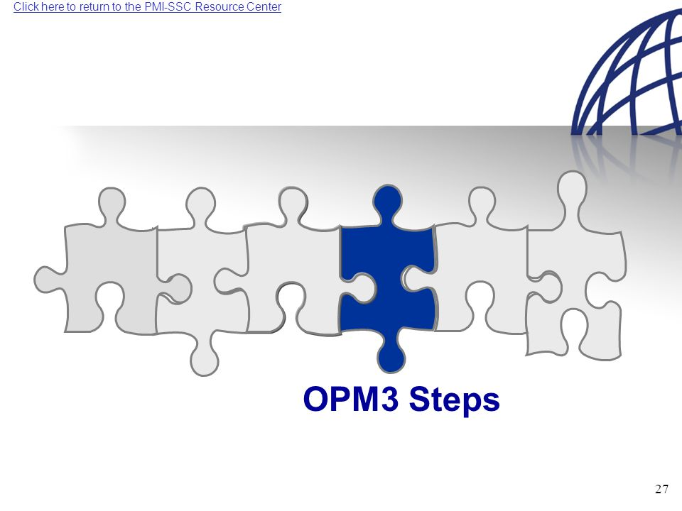 Click here to return to the PMI-SSC Resource Center 27 OPM3 Steps