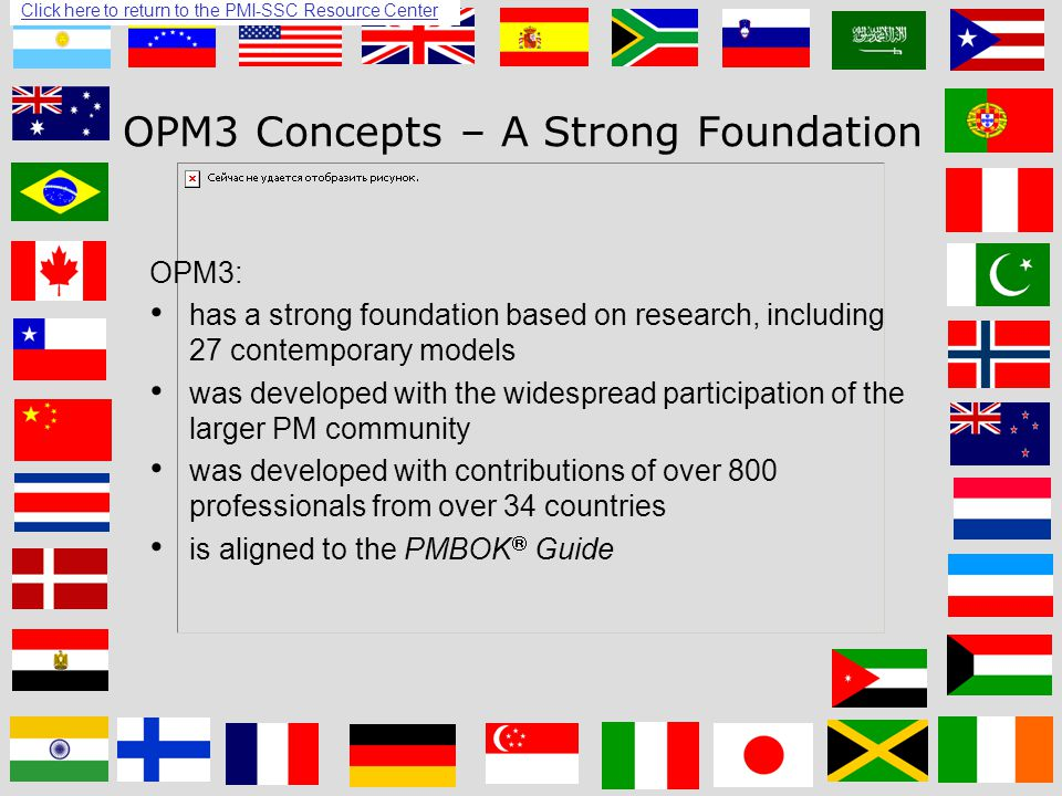 Click here to return to the PMI-SSC Resource Center 8 OPM3 Concepts – A Strong Foundation OPM3: has a strong foundation based on research, including 27 contemporary models was developed with the widespread participation of the larger PM community was developed with contributions of over 800 professionals from over 34 countries is aligned to the PMBOK  Guide Click here to return to the PMI-SSC Resource Center