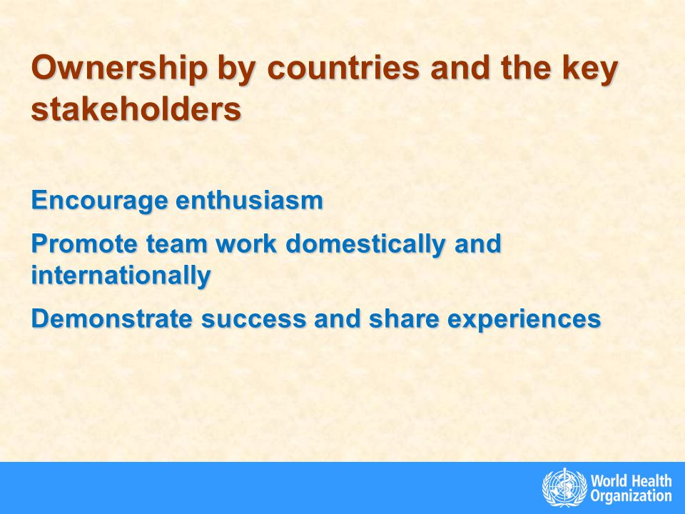 Ownership by countries and the key stakeholders Encourage enthusiasm Promote team work domestically and internationally Demonstrate success and share experiences