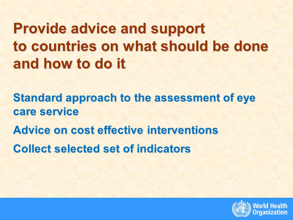 Provide advice and support to countries on what should be done and how to do it Standard approach to the assessment of eye care service Advice on cost effective interventions Collect selected set of indicators