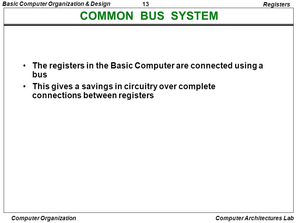 13 Basic Computer Organization & Design Computer Organization Computer Architectures Lab COMMON BUS SYSTEM Registers The registers in the Basic Comput