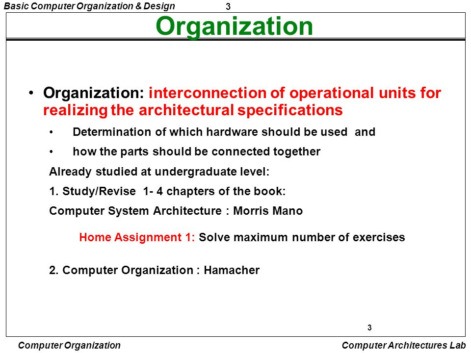 4 Basic Computer Organization & Design Computer Organization Computer Architectures Lab BASIC COMPUTER ORGANIZATION AND DESIGN Instruction Codes Computer Registers Computer Instructions Timing and Control Instruction Cycle Memory Reference Instructions Input-Output and Interrupt Complete Computer Description Design of Basic Computer Design of Accumulator Logic