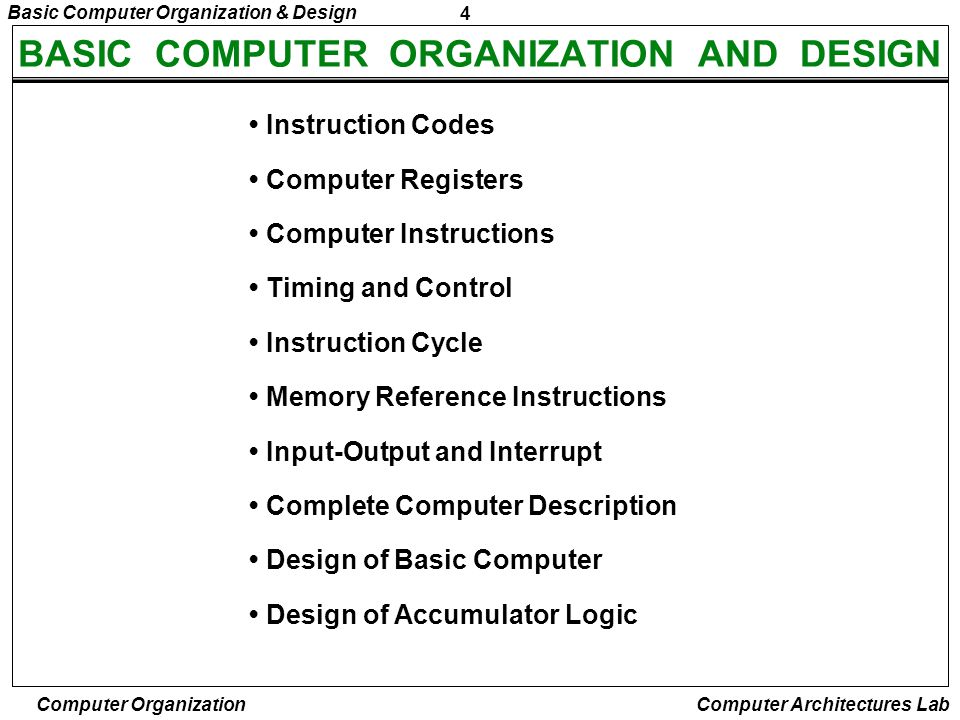 5 Basic Computer Organization & Design Computer Organization Computer Architectures Lab INTRODUCTION Every different processor has its own design (different registers, buses, micro-operations, machine instructions, etc) Modern processor is a very complex device It contains –Many registers –Multiple arithmetic units, for both integer and floating point calculations –The ability to pipeline several consecutive instructions to speed execution –Etc.