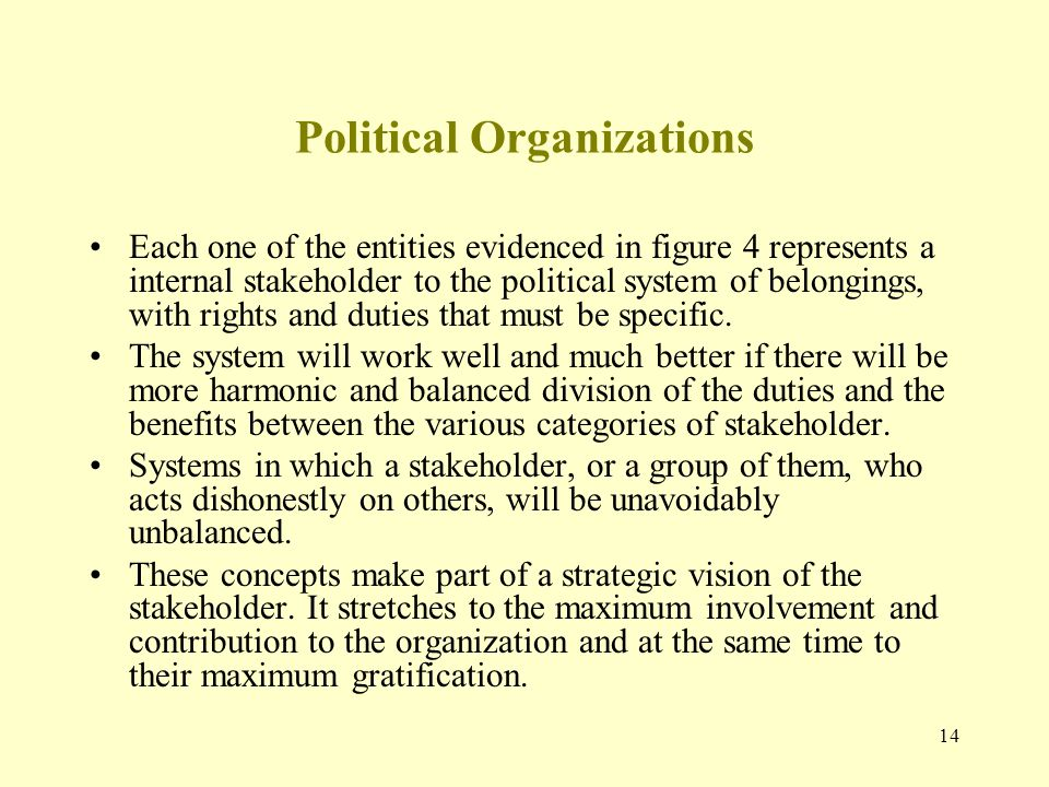 14 Political Organizations Each one of the entities evidenced in figure 4 represents a internal stakeholder to the political system of belongings, wit