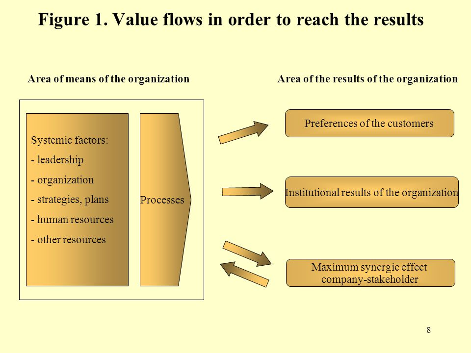 8 Figure 1. Value flows in order to reach the results Area of means of the organizationArea of the results of the organization Systemic factors: - lea