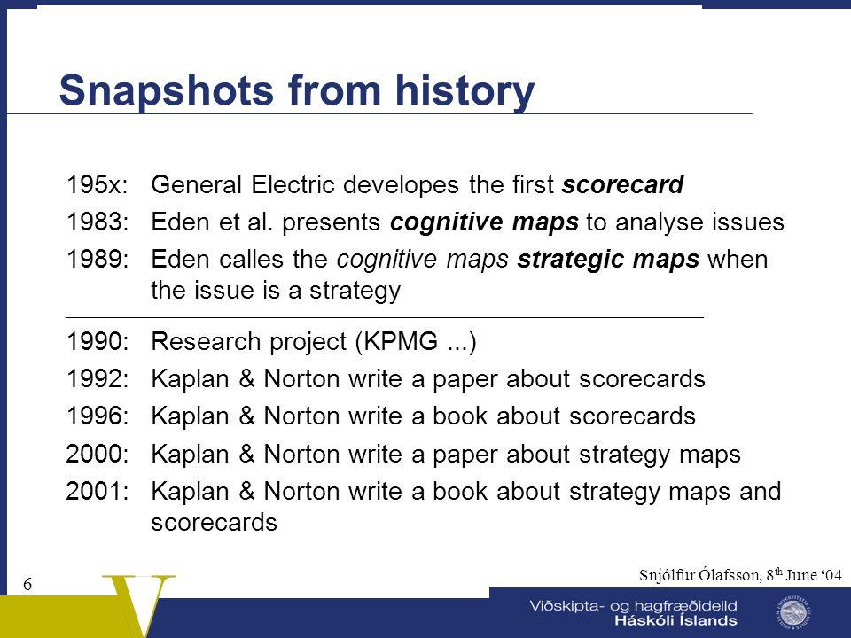 5 Snjólfur Ólafsson, 8 th June '04 Litterature  Kaplan & Norton (1992): The Balanced Scorecard – Measures That Drive Performance. Harvard Business Re