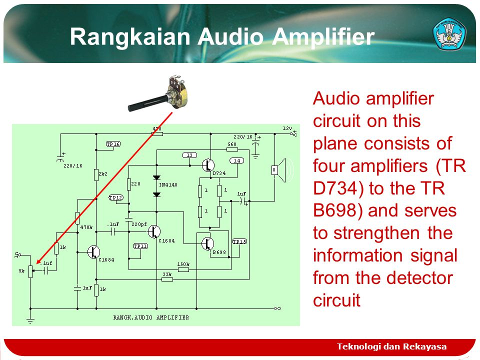 Rangkaian Audio Amplifier Teknologi dan Rekayasa Audio amplifier circuit on this plane consists of four amplifiers (TR D734) to the TR B698) and serve