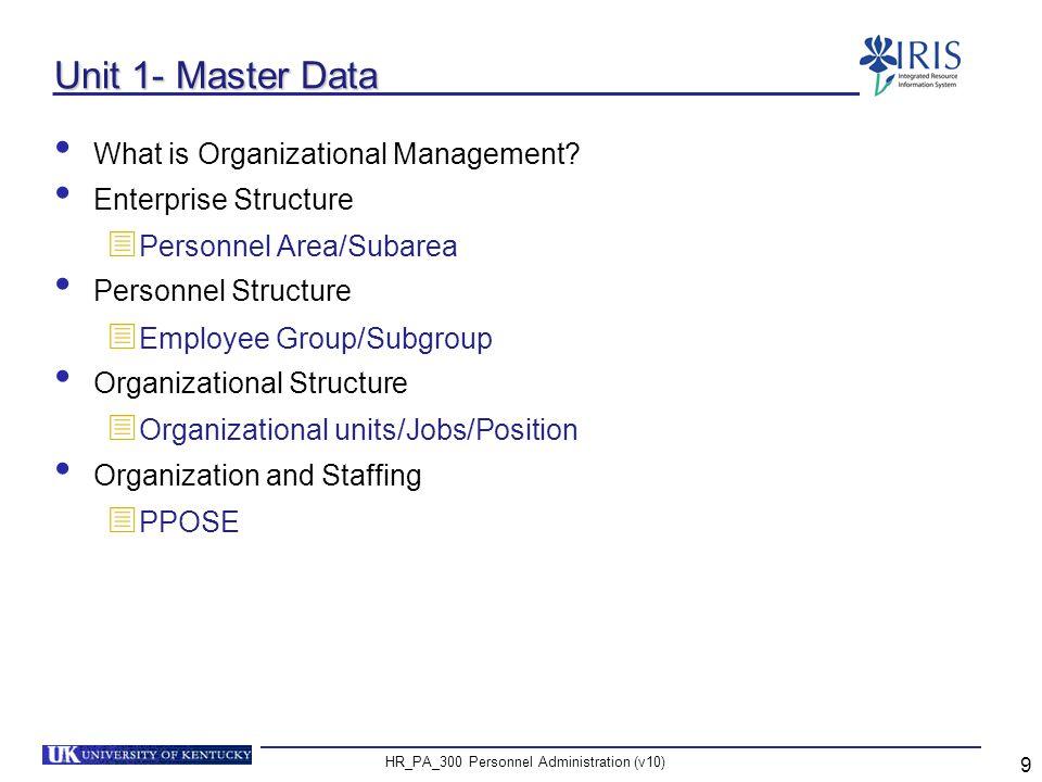 HR_PA_300 Personnel Administration (v10) 20 Unit 2 Master Data