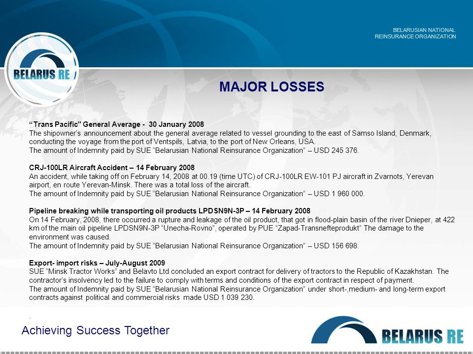 MAJOR LOSSES BELARUSIAN NATIONAL REINSURANCE ORGANIZATION Achieving Success Together Trans Pacific General Average - 30 January 2008 The shipowner's announcement about the general average related to vessel grounding to the east of Samso Island, Denmark, conducting the voyage from the port of Ventspils, Latvia, to the port of New Orleans, USA.