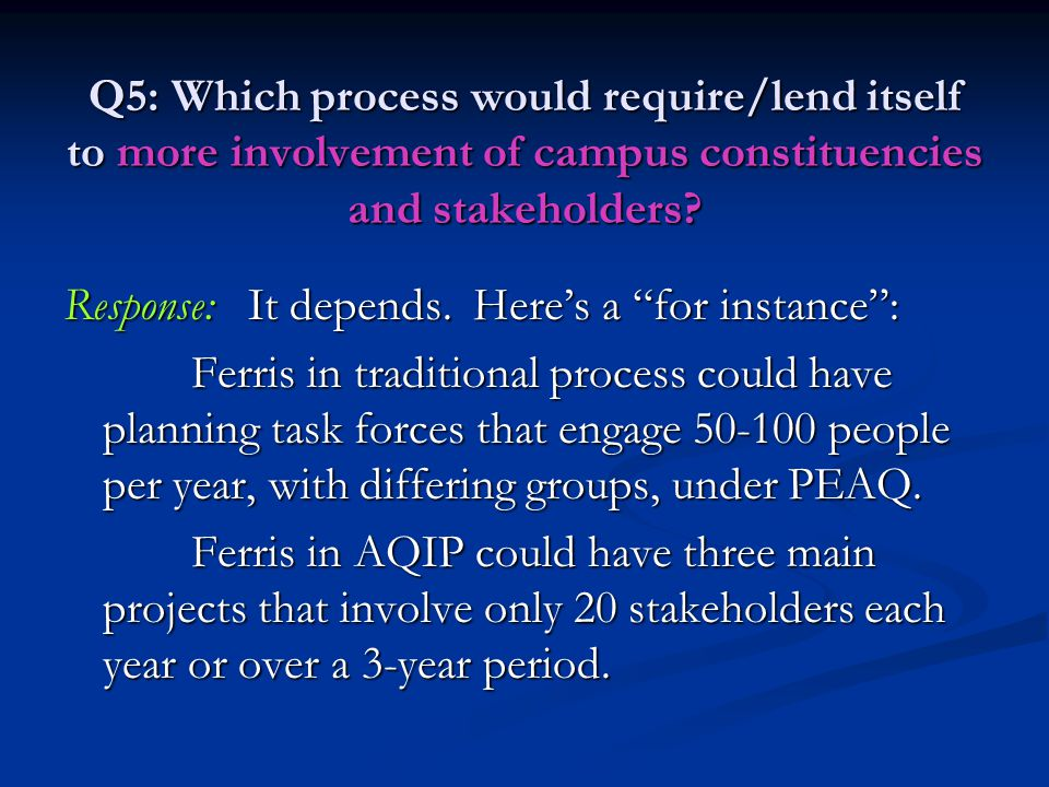 "Q5: Which process would require/lend itself to more involvement of campus constituencies and stakeholders? Response: It depends. Here's a ""for instanc"