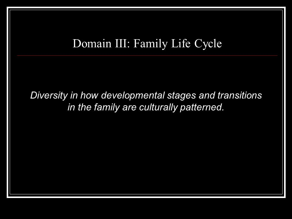 Domain III: Family Life Cycle Diversity in how developmental stages and transitions in the family are culturally patterned.
