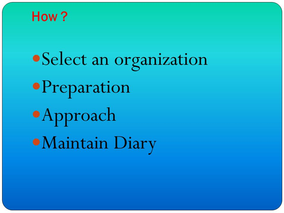 How Select an organization Preparation Approach Maintain Diary