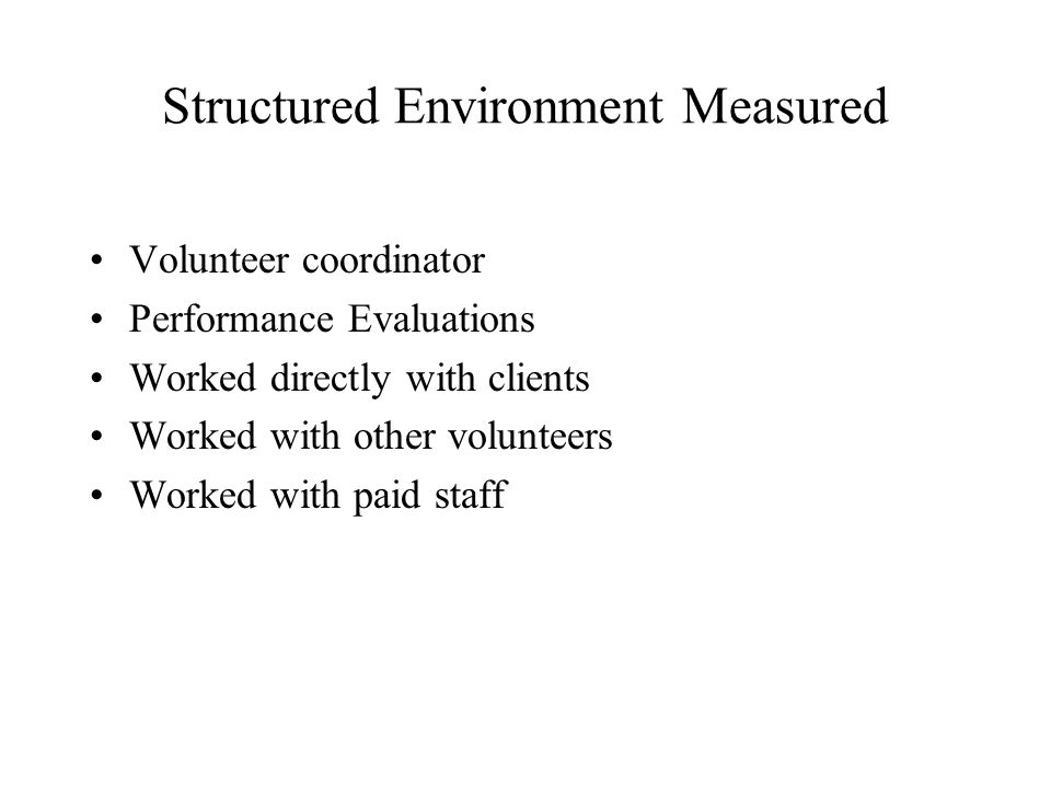 Structured Environment Measured Volunteer coordinator Performance Evaluations Worked directly with clients Worked with other volunteers Worked with paid staff