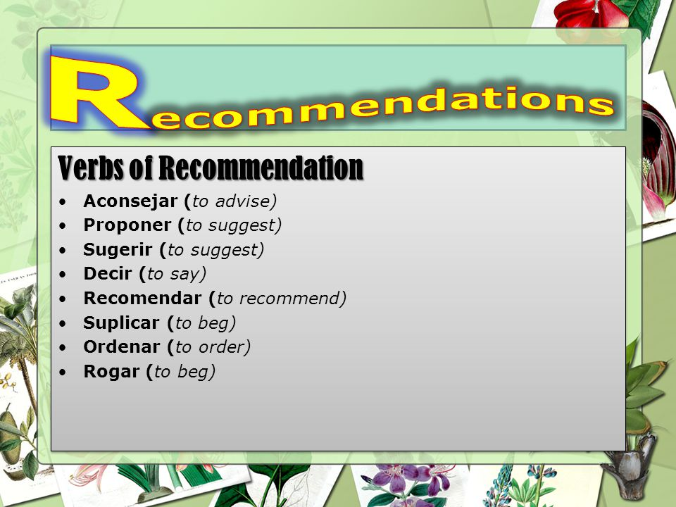 Verbs of Recommendation Aconsejar (to advise) Proponer (to suggest) Sugerir (to suggest) Decir (to say) Recomendar (to recommend) Suplicar (to beg) Ordenar (to order) Rogar (to beg) Verbs of Recommendation Aconsejar (to advise) Proponer (to suggest) Sugerir (to suggest) Decir (to say) Recomendar (to recommend) Suplicar (to beg) Ordenar (to order) Rogar (to beg)