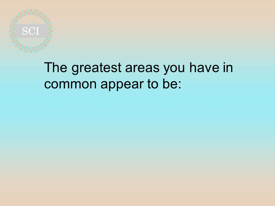 The greatest areas you have in common appear to be:
