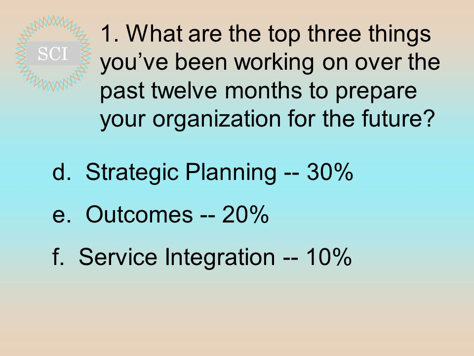 1. What are the top three things you've been working on over the past twelve months to prepare your organization for the future? d. Strategic Planning