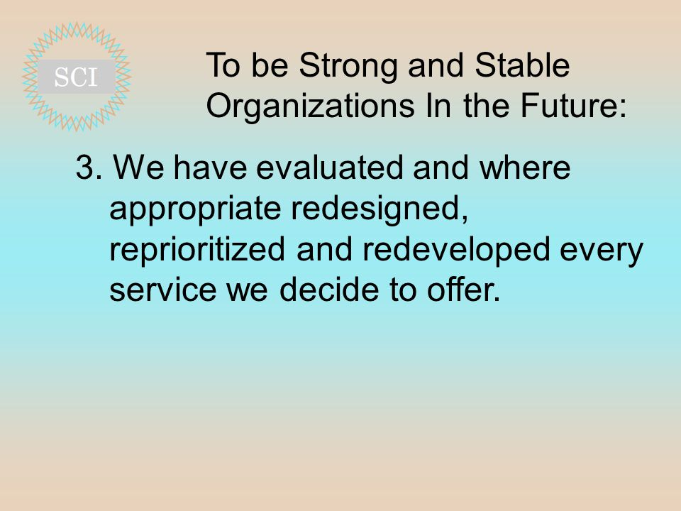 To be Strong and Stable Organizations In the Future: 3.