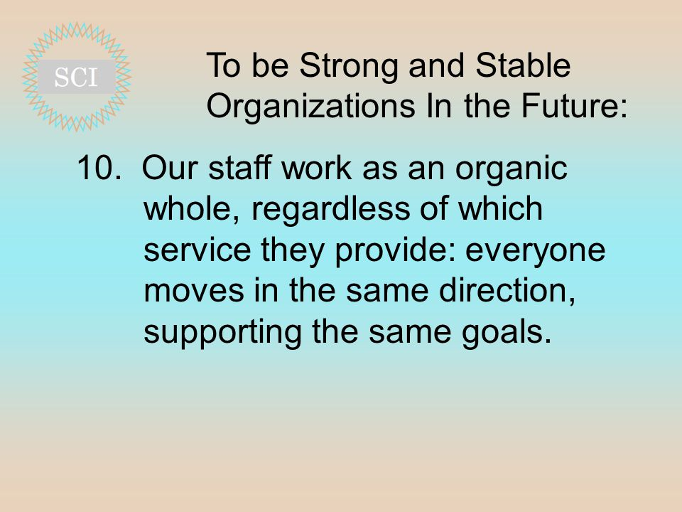 To be Strong and Stable Organizations In the Future: 10.