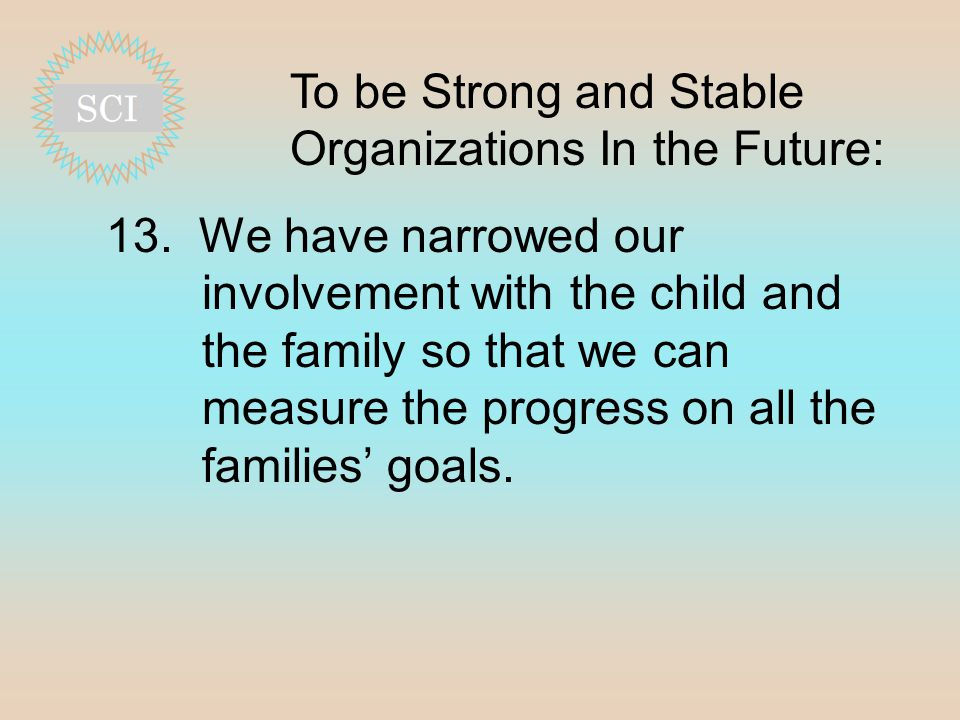 To be Strong and Stable Organizations In the Future: 13.