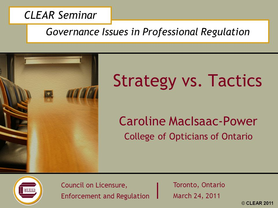 Governance Issues in Professional Regulation CLEAR Seminar Council on Licensure, Enforcement and Regulation Toronto, Ontario March 24, 2011 © CLEAR 20