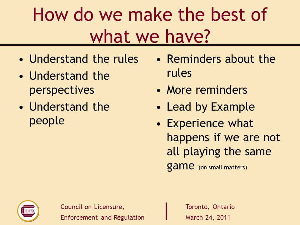 Council on Licensure, Enforcement and Regulation Toronto, Ontario March 24, 2011 How do we make the best of what we have? Understand the rules Underst