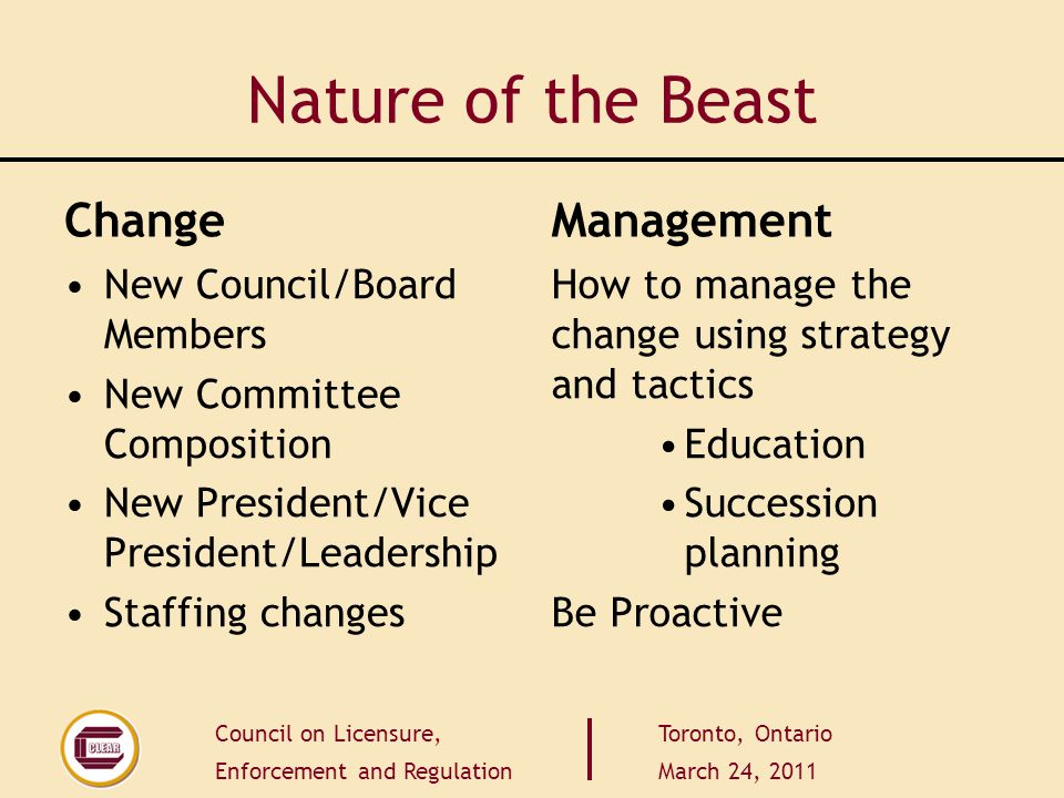 Council on Licensure, Enforcement and Regulation Toronto, Ontario March 24, 2011 Nature of the Beast Change New Council/Board Members New Committee Co