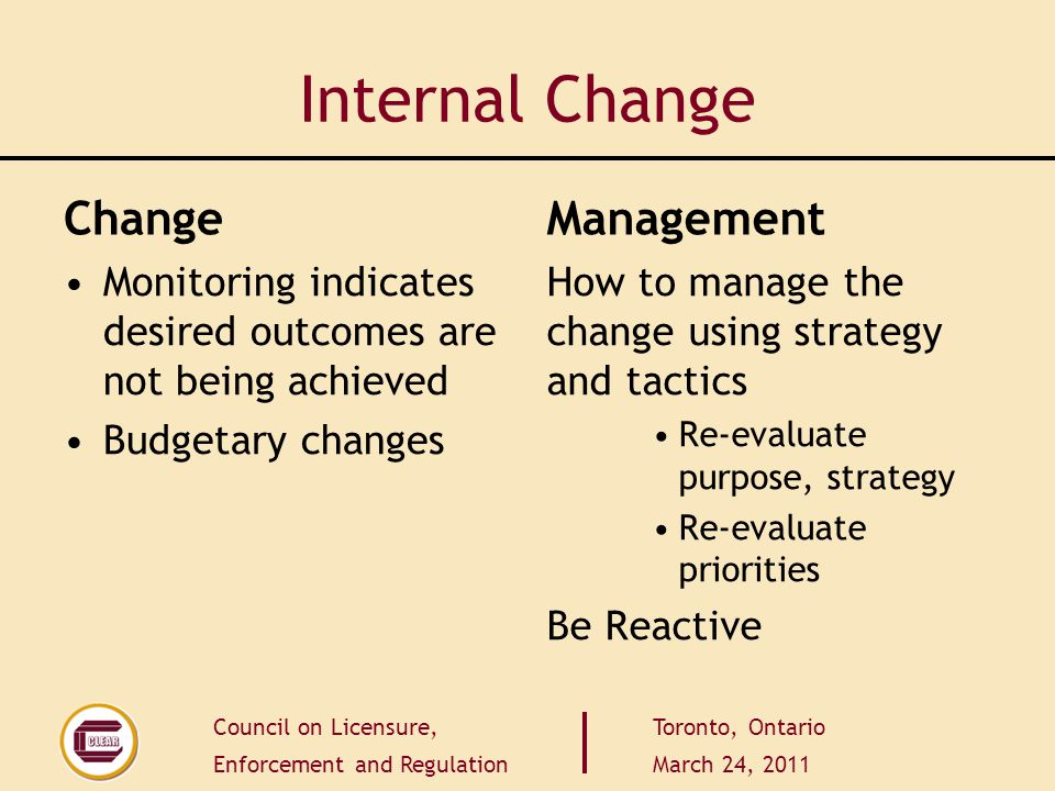 Council on Licensure, Enforcement and Regulation Toronto, Ontario March 24, 2011 Internal Change Change Monitoring indicates desired outcomes are not being achieved Budgetary changes Management How to manage the change using strategy and tactics Re-evaluate purpose, strategy Re-evaluate priorities Be Reactive