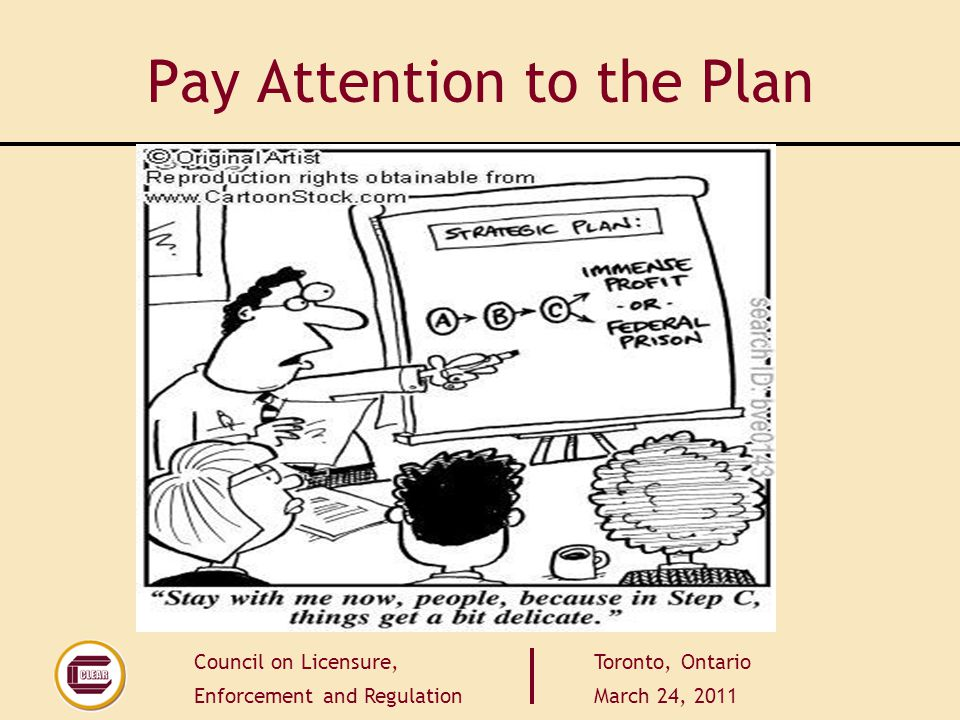 Council on Licensure, Enforcement and Regulation Toronto, Ontario March 24, 2011 Pay Attention to the Plan