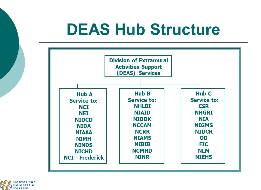 DEAS Hub Structure Division of Extramural Activities Support (DEAS) Services Hub A Service to: NCI NEI NIDCD NIDA NIAAA NIMH NINDS NICHD NCI - Frederi