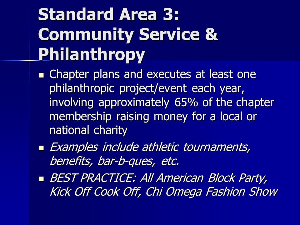 Standard Area 3: Community Service & Philanthropy Chapter plans and executes at least one philanthropic project/event each year, involving approximately 65% of the chapter membership raising money for a local or national charity Chapter plans and executes at least one philanthropic project/event each year, involving approximately 65% of the chapter membership raising money for a local or national charity Examples include athletic tournaments, benefits, bar-b-ques, etc.