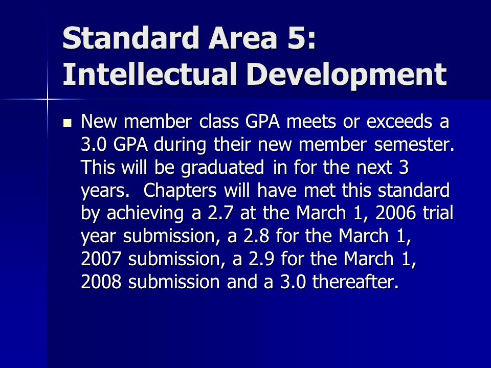 Standard Area 5: Intellectual Development New member class GPA meets or exceeds a 3.0 GPA during their new member semester.