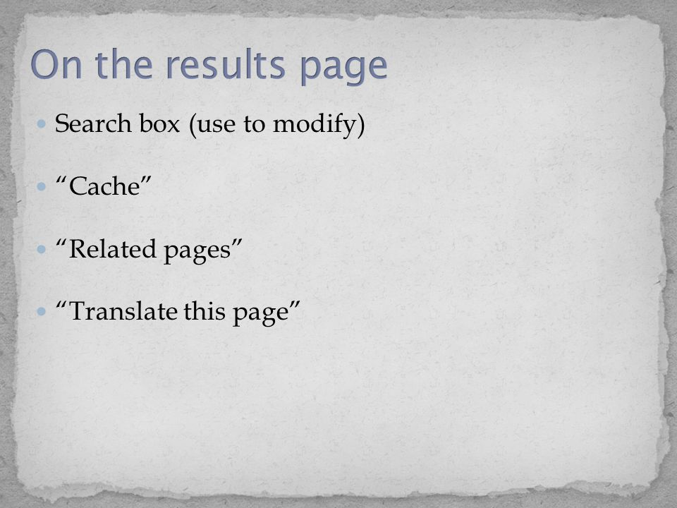 """Search box (use to modify) """"Cache"""" """"Related pages"""" """"Translate this page"""""""