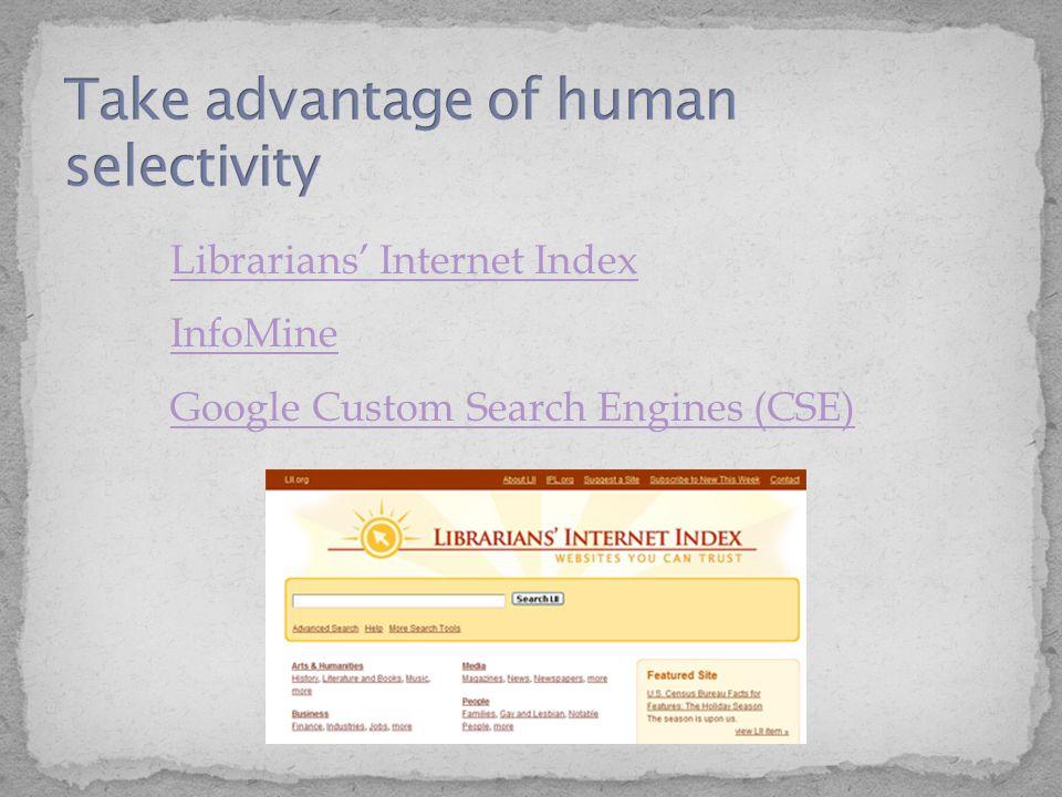 Librarians' Internet Index InfoMine Librarians' Internet Index InfoMine Google Custom Search Engines (CSE) Google Custom Search Engines (CSE)