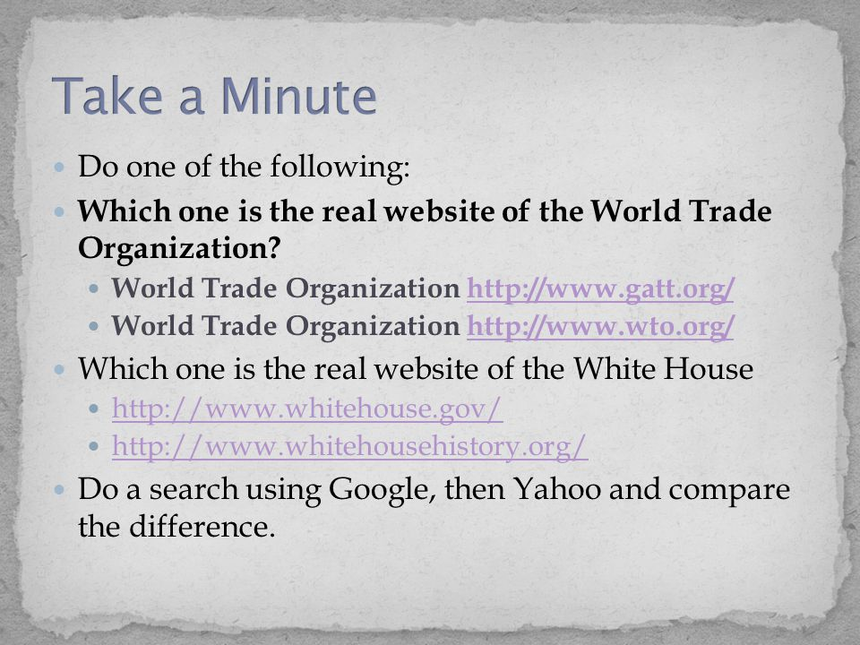 Do one of the following: Which one is the real website of the World Trade Organization.