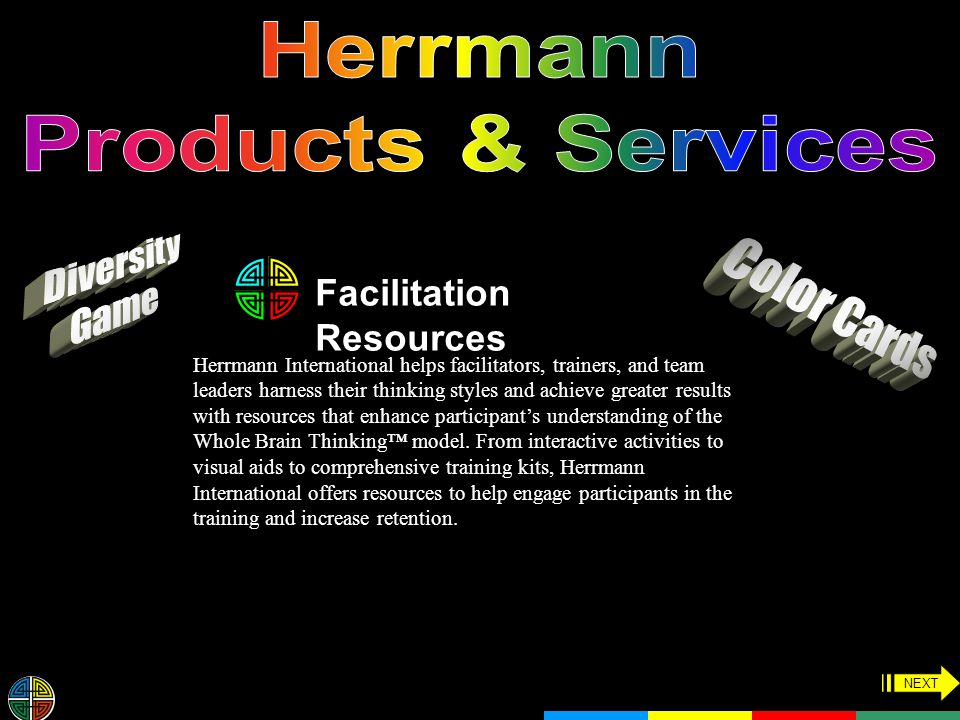 Facilitation Resources Herrmann International helps facilitators, trainers, and team leaders harness their thinking styles and achieve greater results