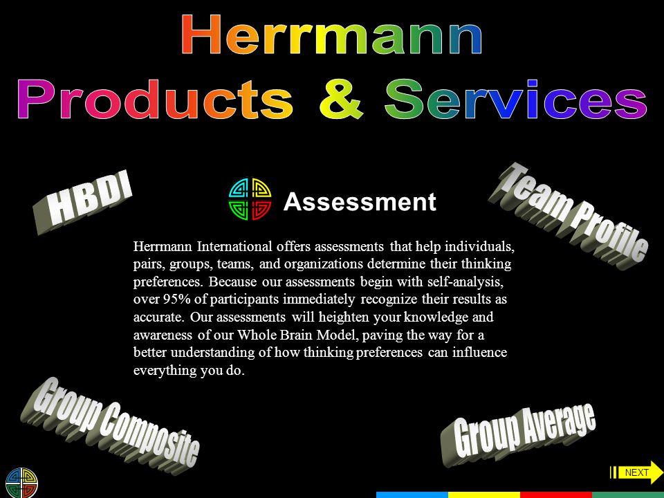 Assessment Herrmann International offers assessments that help individuals, pairs, groups, teams, and organizations determine their thinking preferenc